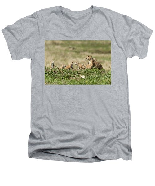 Prairie Dog Family 7270 Men's V-Neck T-Shirt