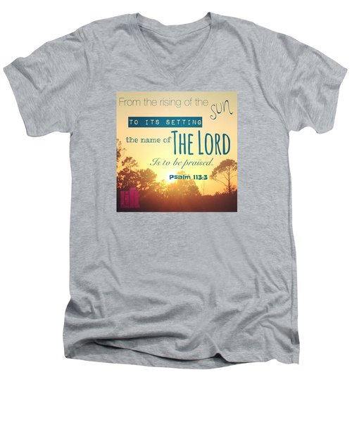 From The Rising Of The Sun Men's V-Neck T-Shirt by LIFT Women's Ministry designs --by Julie Hurttgam