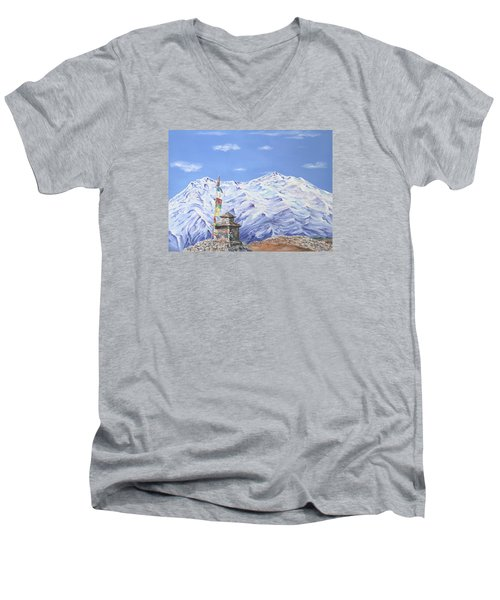 Men's V-Neck T-Shirt featuring the painting Prayer Flag by Elizabeth Lock