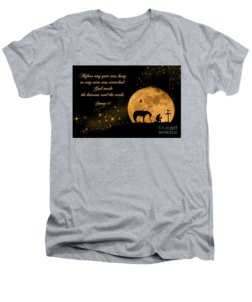 Men's V-Neck T-Shirt featuring the photograph Prayer Of A Cowboy by Bonnie Barry