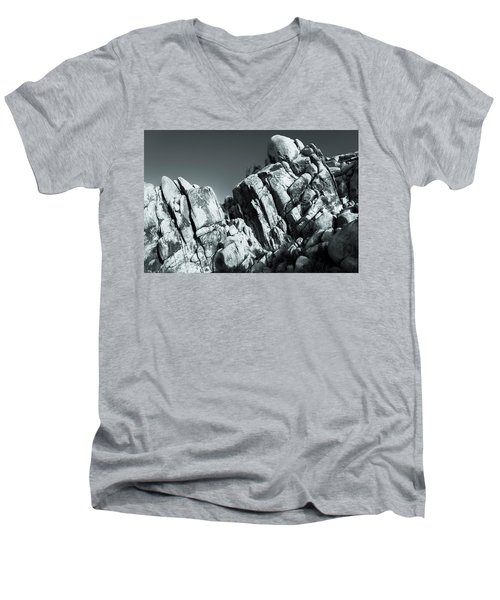 Precious Moment - Juxtaposed Rocks Joshua Tree National Park Men's V-Neck T-Shirt
