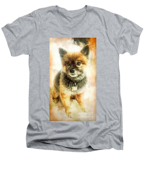 Precious Pomeranian Men's V-Neck T-Shirt by Tina LeCour