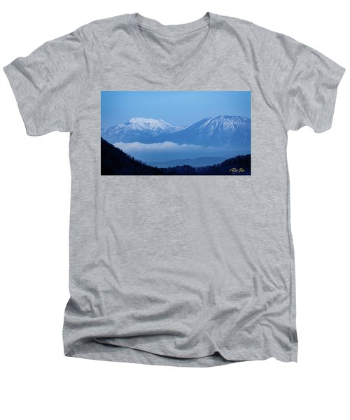 Men's V-Neck T-Shirt featuring the photograph Predawn Peaks by Rikk Flohr