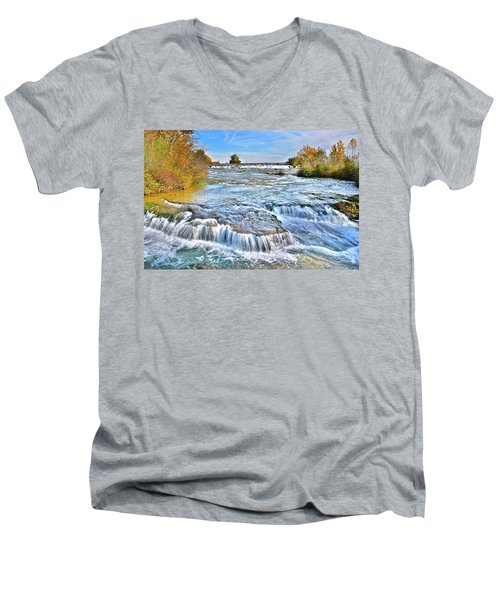 Men's V-Neck T-Shirt featuring the photograph Preparing For The Big Fall by Frozen in Time Fine Art Photography