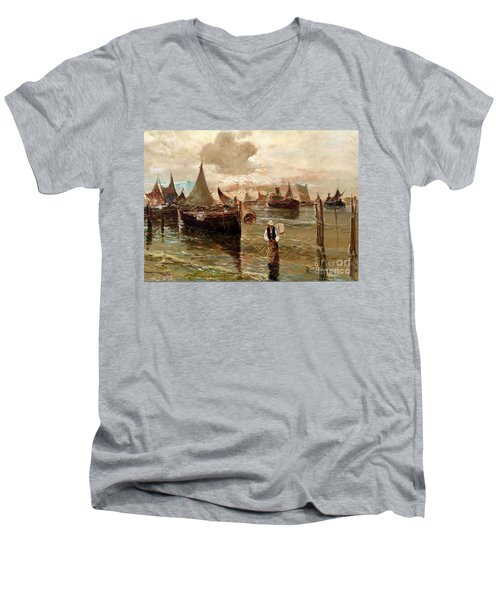 Men's V-Neck T-Shirt featuring the painting Preparing The Trap by Rosario Piazza