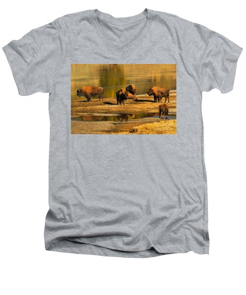 Men's V-Neck T-Shirt featuring the photograph Preparing To Cross The Yellowstone River by Adam Jewell