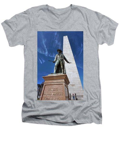 Prescott Statue On Bunker Hill Men's V-Neck T-Shirt