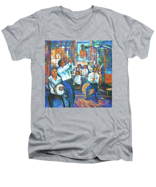 Men's V-Neck T-Shirt featuring the painting Preservation Jazz by Dianne Parks