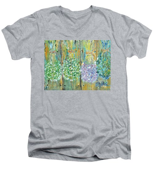 Men's V-Neck T-Shirt featuring the painting Preserved Herbs by Evelina Popilian