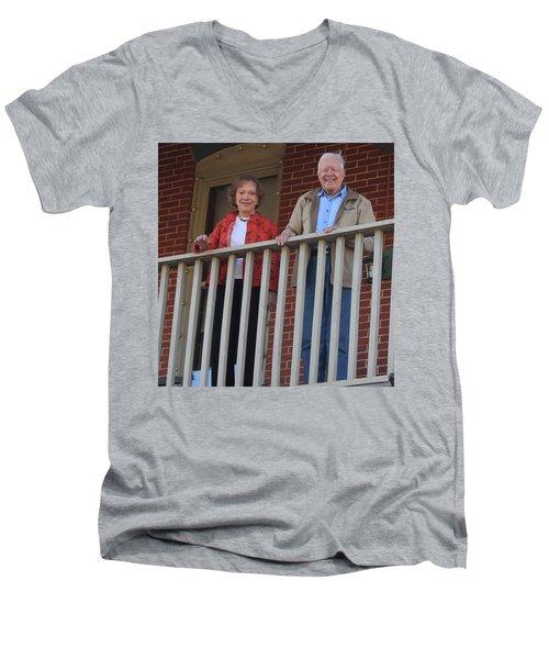 President And Mrs Carter On Plains Inn Balcony Men's V-Neck T-Shirt
