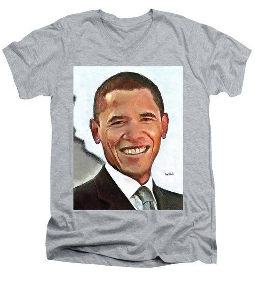 President Barack Obama Men's V-Neck T-Shirt by Wayne Pascall