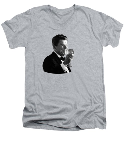 President Reagan Making A Toast Men's V-Neck T-Shirt by War Is Hell Store