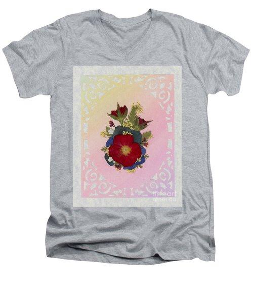 Pressed Flowers Arrangement With Red Roses Men's V-Neck T-Shirt