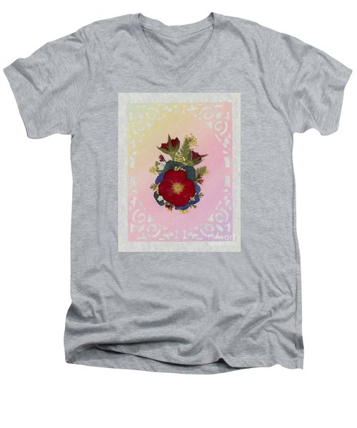 Pressed Flowers Arrangement With Red Roses Men's V-Neck T-Shirt