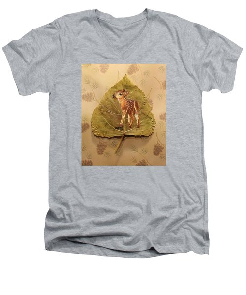 Pretty Baby Deer Men's V-Neck T-Shirt by Ralph Root