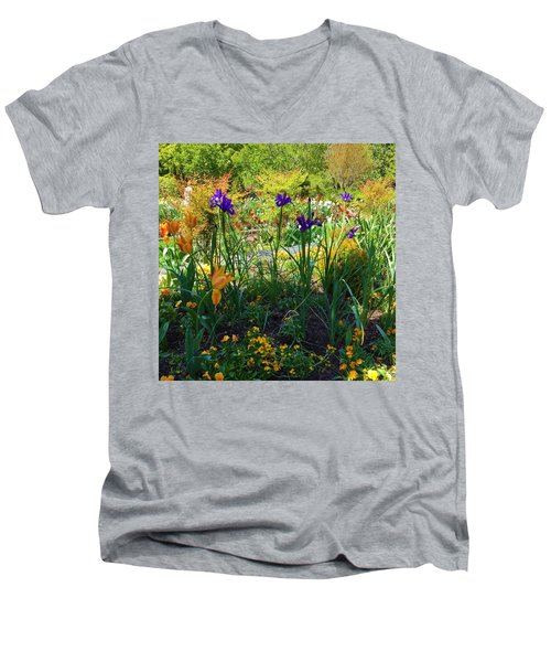 Pretty Flowers Men's V-Neck T-Shirt by Kay Gilley