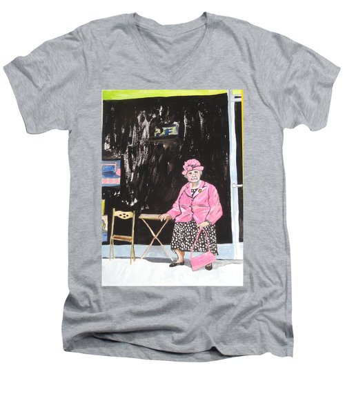 Men's V-Neck T-Shirt featuring the painting Pretty In Pink by Esther Newman-Cohen