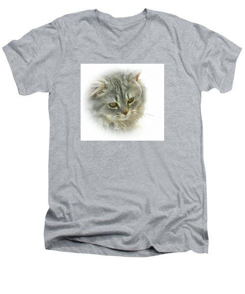 Men's V-Neck T-Shirt featuring the photograph Pretty Kitty by Debbie Stahre