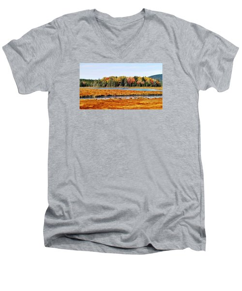 Men's V-Neck T-Shirt featuring the photograph Pretty Marsh 2 by Mike Breau