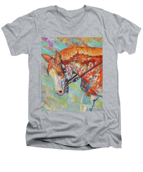 Men's V-Neck T-Shirt featuring the painting Pretty Paint by Jenn Cunningham