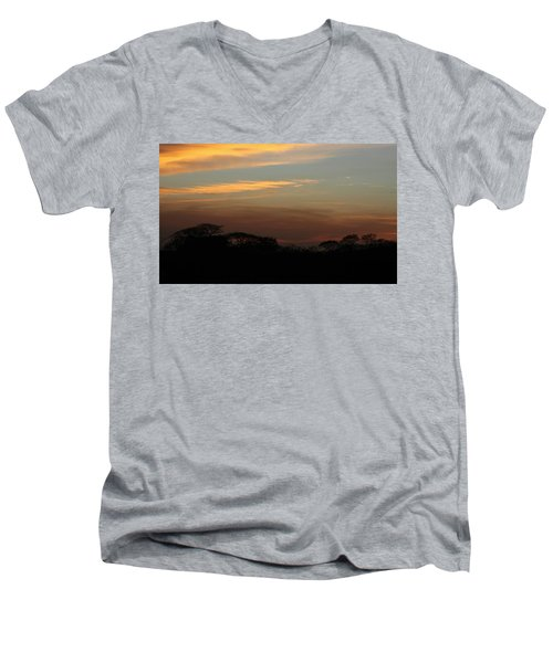 Men's V-Neck T-Shirt featuring the photograph Pretty Pastel Sunset by Ellen O'Reilly