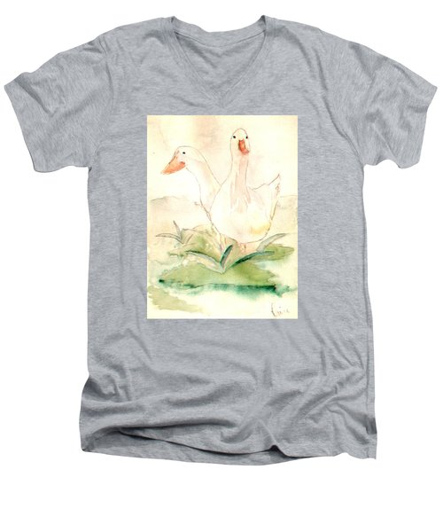 Men's V-Neck T-Shirt featuring the painting Pretty Pekins by Denise Tomasura