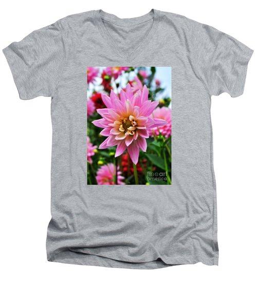 Pretty Pink Dahlia  Men's V-Neck T-Shirt