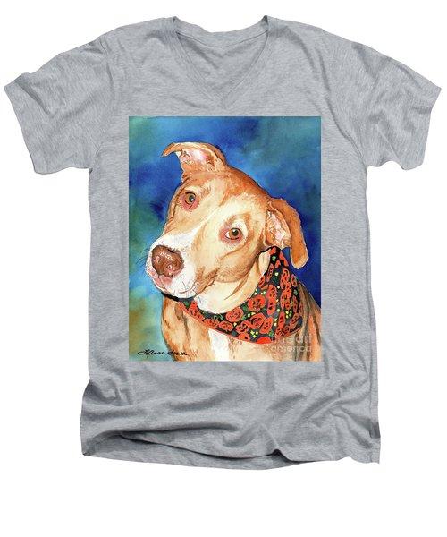 Pretty Please, Dog Portrait, Dog Painting, Dog Print, Dog Art Men's V-Neck T-Shirt
