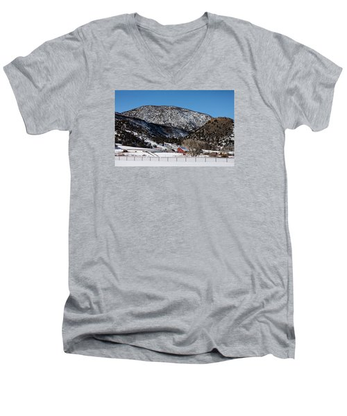 Pretty Red Barns From The Highway Between Aspen And Snowmass Men's V-Neck T-Shirt by Carol M Highsmith