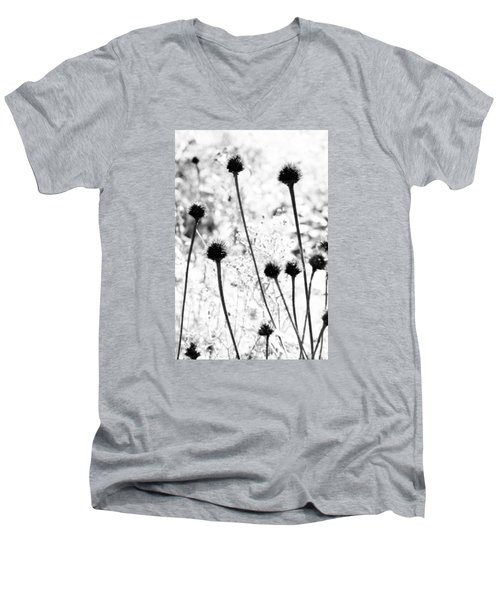 Men's V-Neck T-Shirt featuring the photograph Prickly Buds by Deborah  Crew-Johnson
