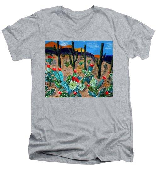 Prickly Pear Cactus Tucson Men's V-Neck T-Shirt