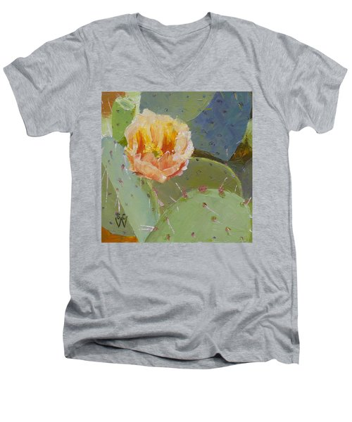Prickly Pear Blossom Men's V-Neck T-Shirt by Susan Woodward