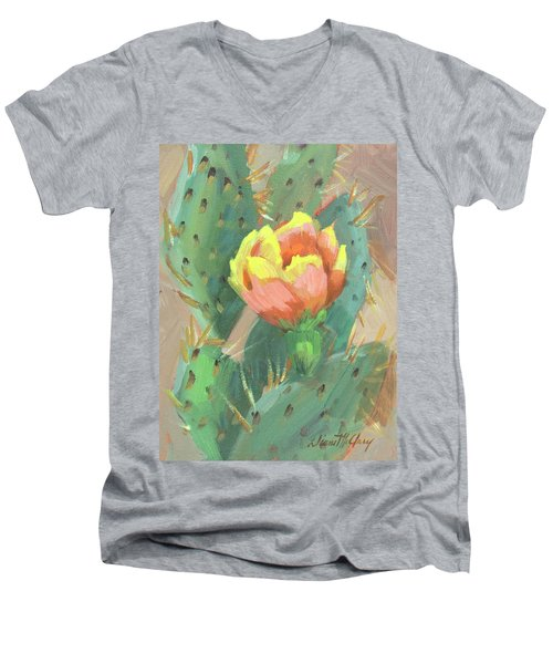 Men's V-Neck T-Shirt featuring the painting Prickly Pear Cactus Bloom by Diane McClary