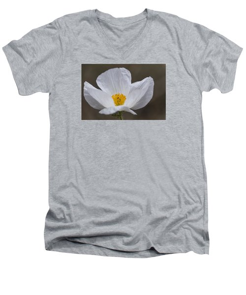 Men's V-Neck T-Shirt featuring the photograph Prickly Poppy by Laura Pratt
