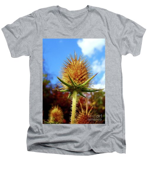 Men's V-Neck T-Shirt featuring the photograph Prickly Thistle by Nina Ficur Feenan