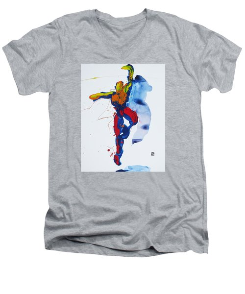 Primary Vertical Jump Shadow Men's V-Neck T-Shirt