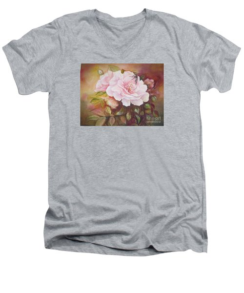 Men's V-Neck T-Shirt featuring the painting Primrose by Patricia Schneider Mitchell