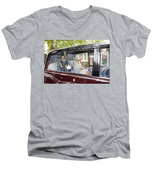 Prince Charles And Camilla Men's V-Neck T-Shirt by KG Thienemann