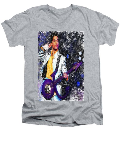 Prince - Tribute With Guitar Men's V-Neck T-Shirt