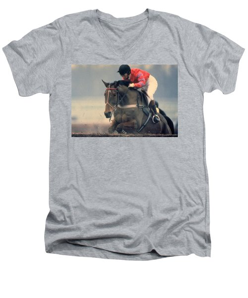 Princess Anne Riding Cnoc Na Cuille At Kempten Park Men's V-Neck T-Shirt