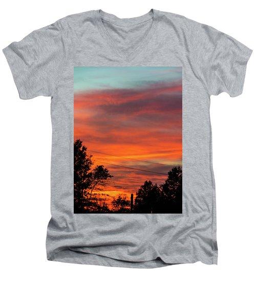 Princeton Junction Sunset Men's V-Neck T-Shirt by Steven Richman