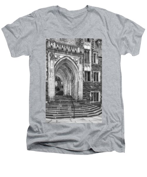 Men's V-Neck T-Shirt featuring the photograph Princeton University Lockhart Hall Dorms Bw by Susan Candelario