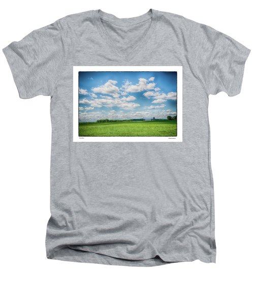 Men's V-Neck T-Shirt featuring the photograph Prison Barn by R Thomas Berner