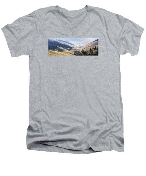 Pristine Panorama- National Bison Range, Montana Men's V-Neck T-Shirt by Janie Johnson