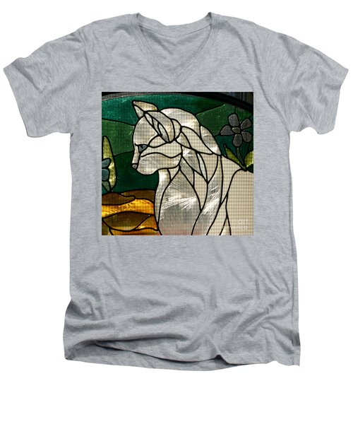 Profile Of A Cat Men's V-Neck T-Shirt by Marie Neder