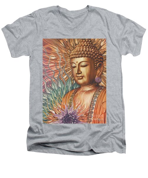 Proliferation Of Peace - Buddha Art By Christopher Beikmann Men's V-Neck T-Shirt