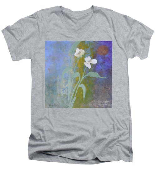 Men's V-Neck T-Shirt featuring the painting Promise by Robin Maria Pedrero