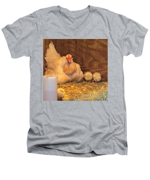 Proud Mother Hen Men's V-Neck T-Shirt by Jeanette Oberholtzer