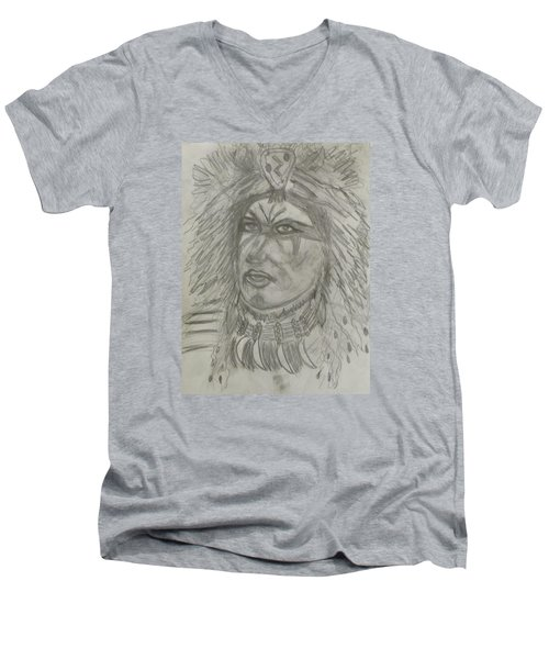 Men's V-Neck T-Shirt featuring the drawing Proud Nation by Sharyn Winters