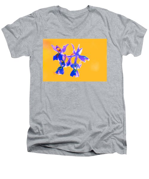 Orange Provence Orchid  Men's V-Neck T-Shirt